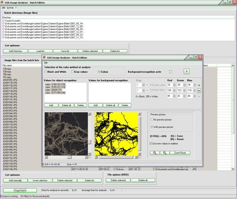 Screenshot for GSA Image Analyser Batch Edition 1.1.4