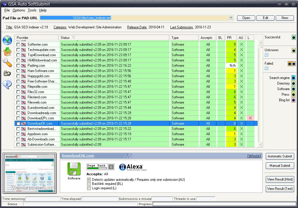 Click to view GSA Auto SoftSubmit 8.04 screenshot