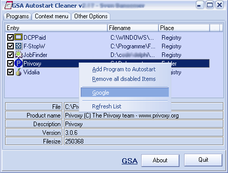 Click to view GSA Autostart Cleaner 2.38 screenshot
