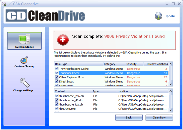 GSA Cleandrive Screen shot