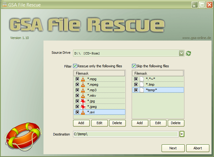 Click to view GSA File Rescue 1.01 screenshot