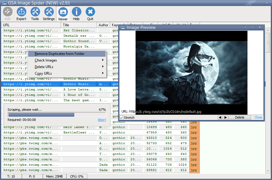 Click to view GSA Image Spider 2.80 screenshot