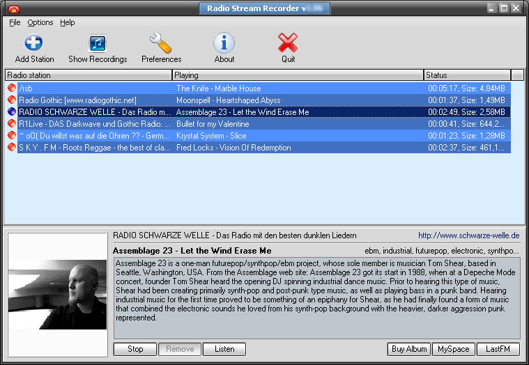 GSA Radio Stream Recorder Screen shot
