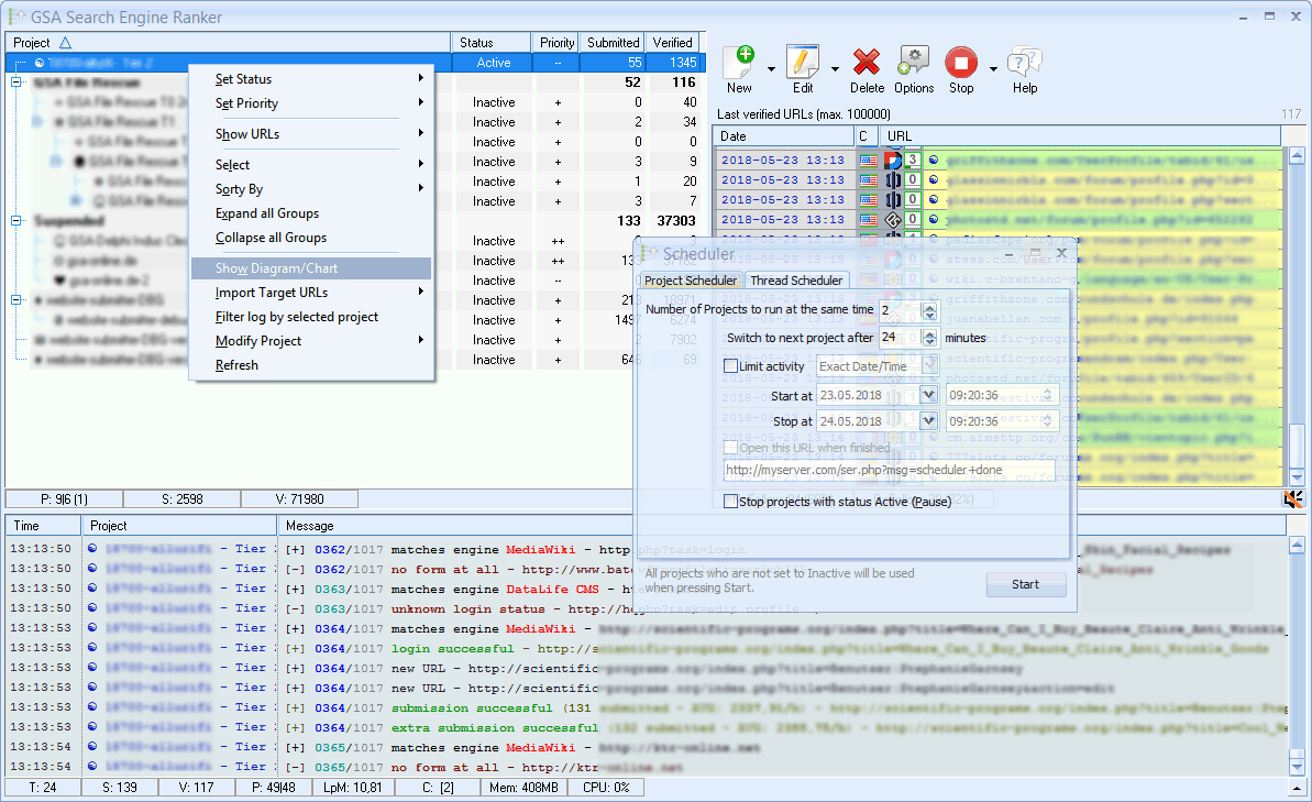 Click to view GSA Search Engine Ranker 2.18 screenshot